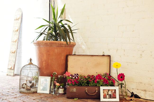 Nice touches, Vintage style, flowers in suitcase, photos of parents wedding day