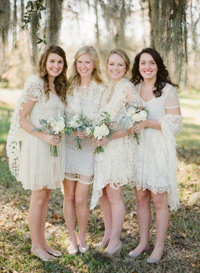 The Girls, bridesmaids, white, lace