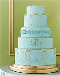 Cakes. wedding cake, blue, gold