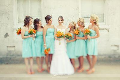 The Girls, bridesmaids, bouquet, yellow, blue,turquoise