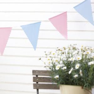 Wedding Accessories, Our gorgeous polka dot cotton bunting is die cut and has 14 pendants in a polka