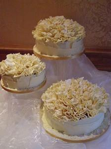 Cakes, White Chocolate Ruffle Wedding Cake (3-tiered cake covered in Belgian white chocolate and top