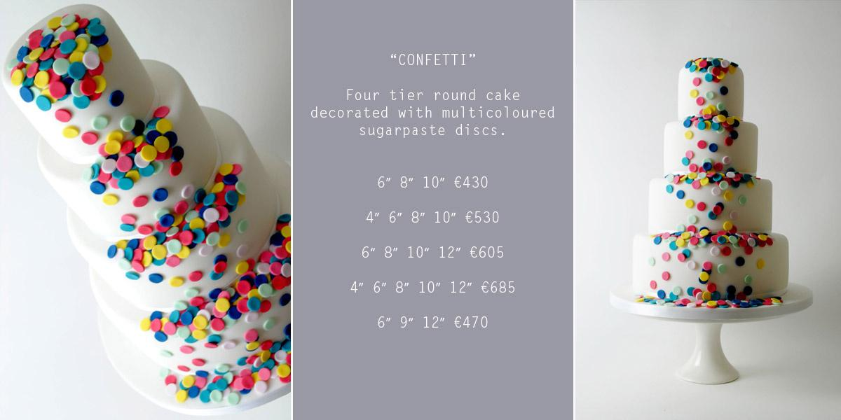 Cakes, Confetti Wedding Cake (four-tier round cake decorated with multicoloured sugarpaste discs)