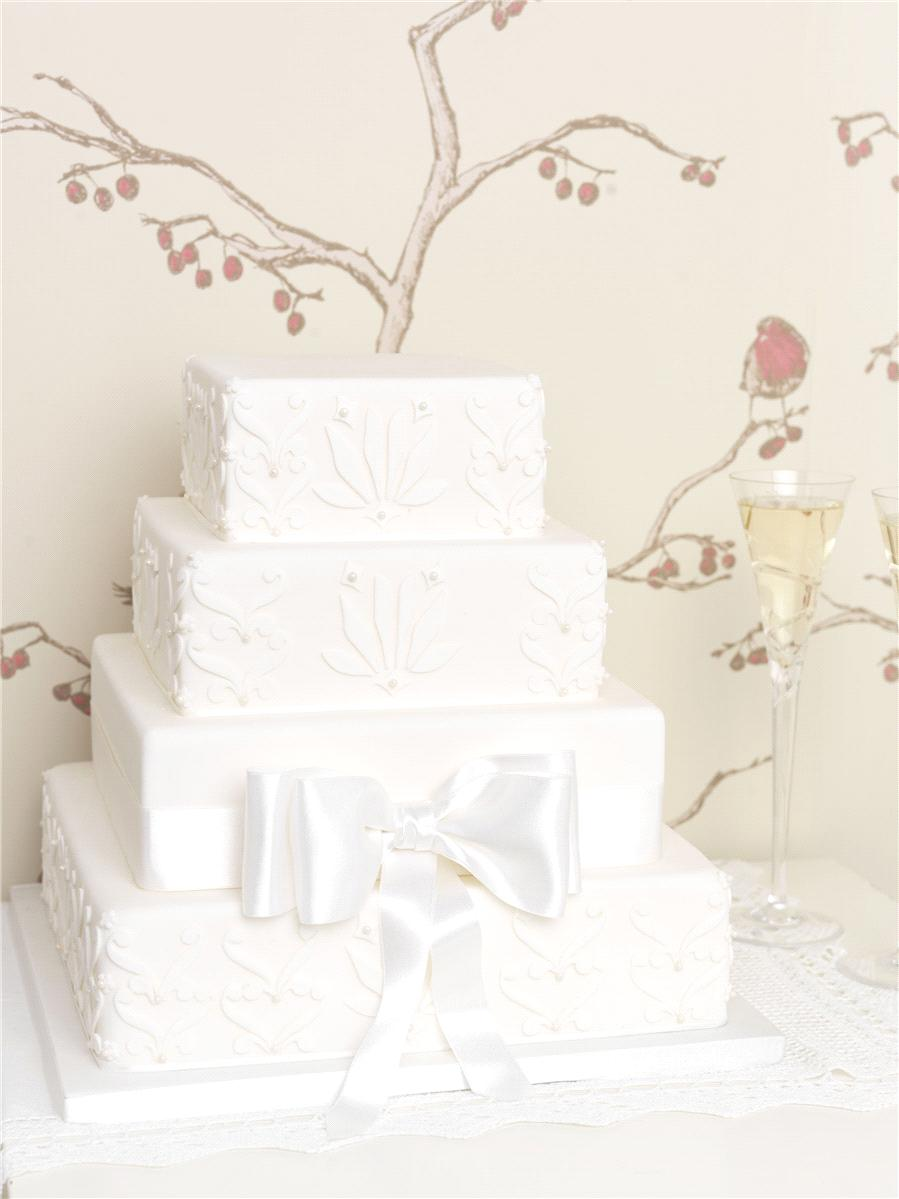 Cakes, Applique with Pearl Detailing & Silk Bow Wedding Cake