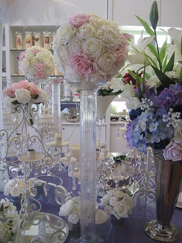 Decor & Event Styling, Ivory and Light Pink Balls with glass pillar