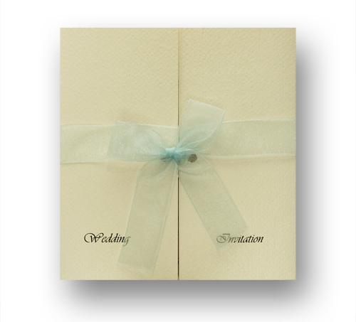 Stationery, Keepsake Day Invite (blue bow). Ivory pearlescent gatefold layered on the inside with iv