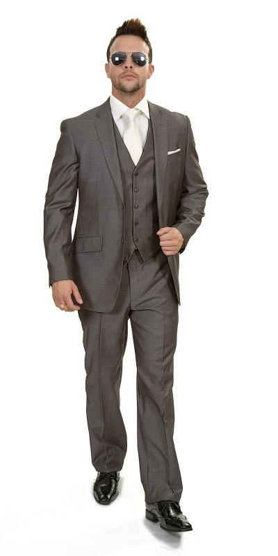 Attire, Rome Grey Design Polyviscose suit (ref. 10-403-3Y). Mid Grey Light Herringbone fabric suit w