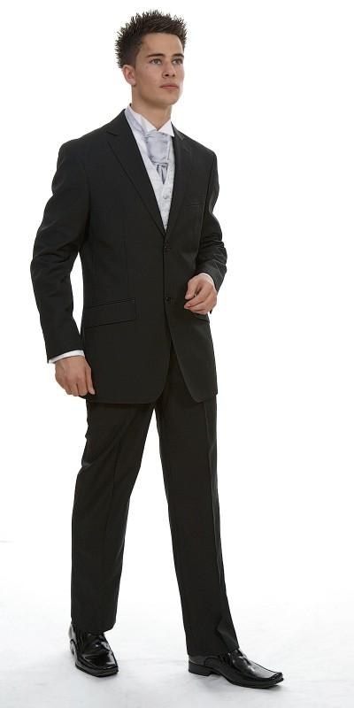 Attire, Rome Black Plain Polyviscose (ref. 11-455.3.B). Black suit, sharply fitting, vented back to