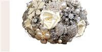 Flowers. Rose & Brooch Bouquet. Handmade satin rose bouquet with vintage style brooches and pearls.