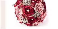 Flowers. Wine Rose Bouquet. Handmade satin rose bouquet with brooches, diamante and pearl in rose ce