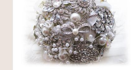 Flowers, Brooch Bouquet. All brooch bouquet with vintage style brooches and pearls. The handle is fi