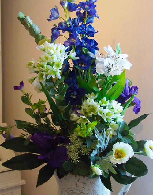 Flowers, Silk flower arrangement (Flower Jug). Supplier of wedding flowers and silk arrangements.