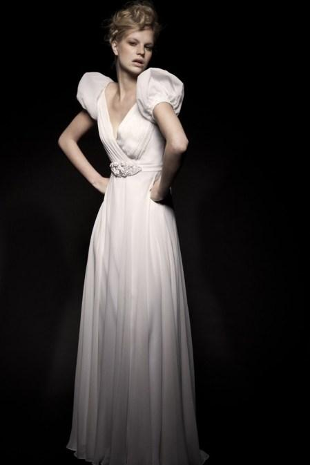Bridal Dresses, Scarlet wedding dress. White silk georgette full circle dress with exaggerated cropp