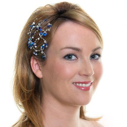 Jewellery, Peacock Spray. Beaded spray hairpin featuring peacock coloured crystals and pearl detail.