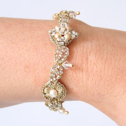Jewellery, Gold Antique Bracelet. Gold antique style bracelet with beaded floral motif, combining pe