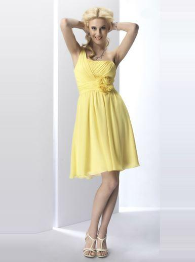 Attire, Bridesmaid cocktail dress (yellow).
