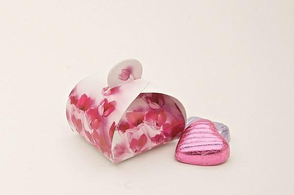 Accessories and Favours, Pink Flowers favour box (H:55mm, W:50mm, L:55mm) featuring pink flowers. Ea