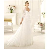 Exquisite A-line Sweetheart 3/4 Length Sleeve Lace Sweep/Brush Train Chiffon Wedding Dresses - Dress