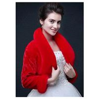 In Stock Fabulous Long Sleeves Faux Fur Wedding Shawl with Pillow Collar - overpinks.com