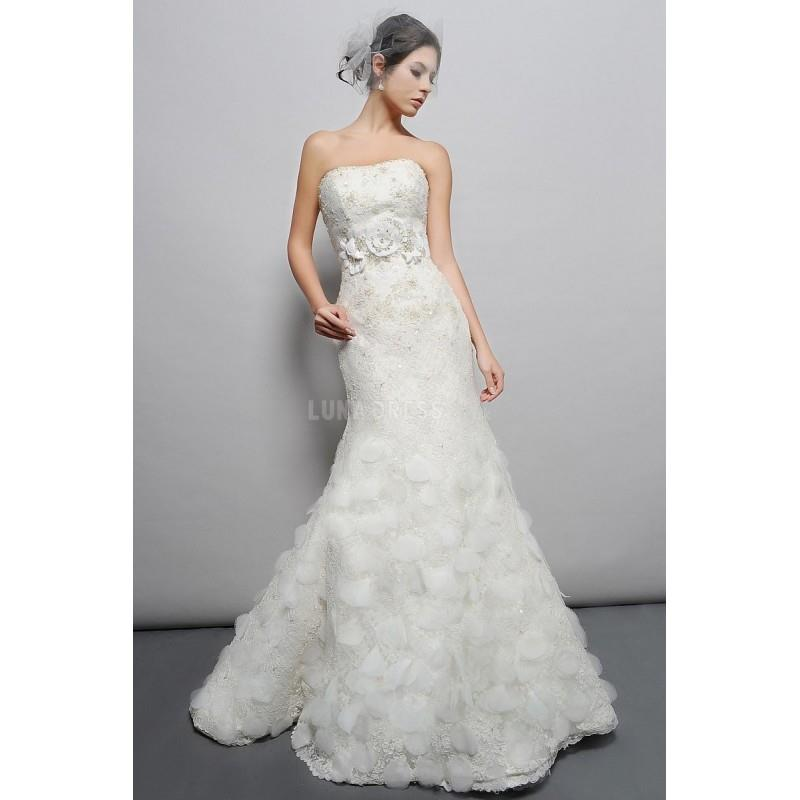 My Stuff, Lace Mermaid Strapless Sleeveless Floor Length Dramatic Wedding Dresses - Compelling Weddi
