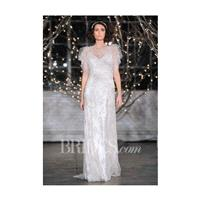 Jenny Packham - Fall 2014 - Rita Beaded Organza Sheath Wedding Dress with a High Illusion Neckline a