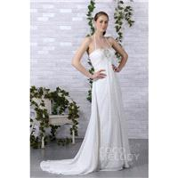 Impressive Sheath-Column Halter Court Train Chiffon Wedding Dress CWLT130A7 - Top Designer Wedding O