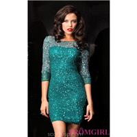 Short Teal High Neck Dress with Sleeves by Scala - Brand Prom Dresses|Beaded Evening Dresses|Unique