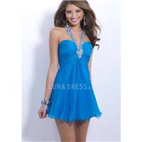 Brilliant Halter Chiffon Baby Doll Sleeveless Above Knee Prom Party Dresses With Crystal - Compellin