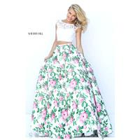 Ivory/Pink Print Sherri Hill 50492 - 2-piece Ball Gowns Cap Sleeves Dress - Customize Your Prom Dres