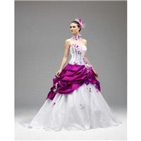 Honorable A-line Strapless Embroidery Feathers/Fur Hand Made Flowers Sweep/Brush Train Satin Wedding