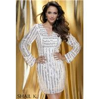 Shail K. 3431 Black/Silver/Gold,Ivory/Silver/Gold Dress - The Unique Prom Store
