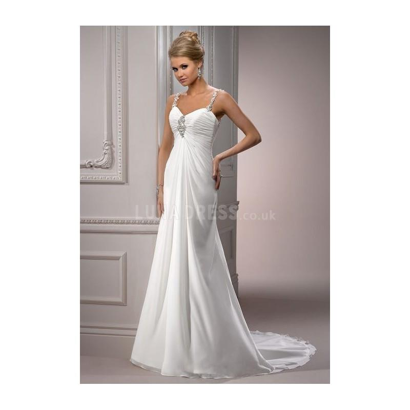 My Stuff, Pleasant Long Chiffon Sheath/ Column Empire Chapel Train Bridal Dresses - Compelling Weddi