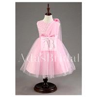 In Stock Lovely Tulle Jewel Neckline Ball Gown Flower Girl Dresses With Beads - overpinks.com