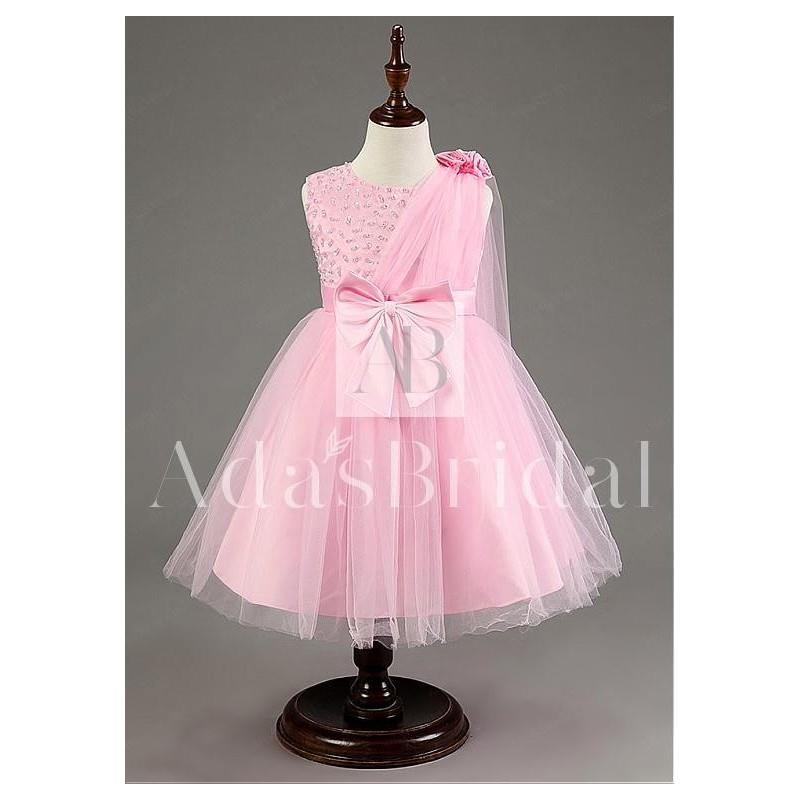 wedding, In Stock Lovely Tulle Jewel Neckline Ball Gown Flower Girl Dresses With Beads - overpinks.c