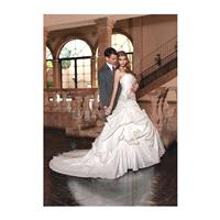 Faddish Floor Length A line Taffeta Strapless Bridal Gowns With Flowers - Compelling Wedding Dresses