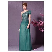 In Stock Elegant Composite Filament &Dense Net & Lace & Malay One-Shoulder Neckline Sheath Evening D