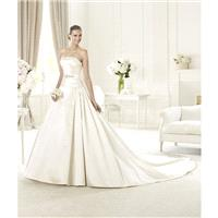 Simple A-line Strapless Beading Chapel Train Satin or Taffeta Wedding Dresses - Dressesular.com