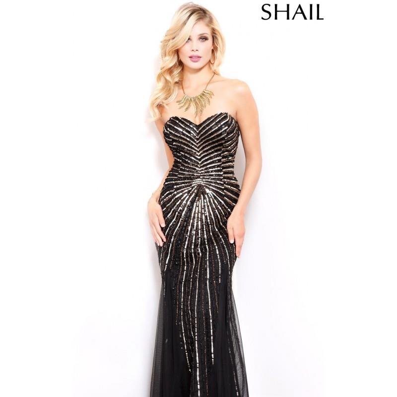 wedding, Black/Bronze Strapless Beaded Gown by Shail K - Color Your Classy Wardrobe