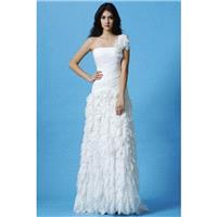 One Shoulder Chiffon Fit N Flare Natural Waist Sleeveless Vogue Wedding Gowns - Compelling Wedding D