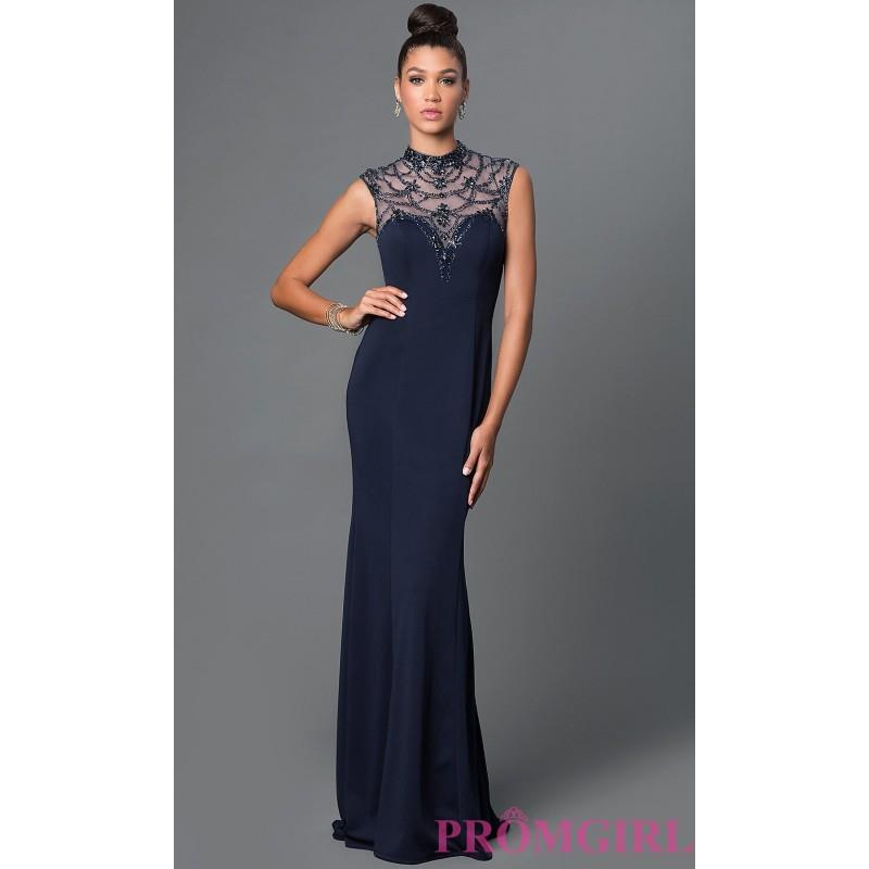 My Stuff, Navy Blue High Neck Open Back Floor Length Dress by Elizabeth K - Discount Evening Dresses
