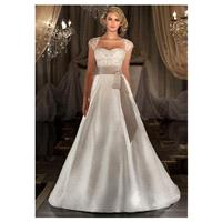 Charming Satin & Tulle Queen Anne Neckline Natural Waistline A-line Wedding Dress With Embroidered B