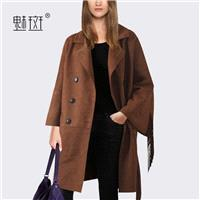 2017 autumn leisure temperament suede jacket women's sweater coat woolen cloth women wear loose coat