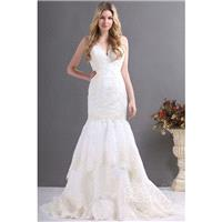 Impressive Trumpet-Mermaid V-Neck Court Train Lace Fit and Flare Wedding Dress CWZT13036 - Top Desig
