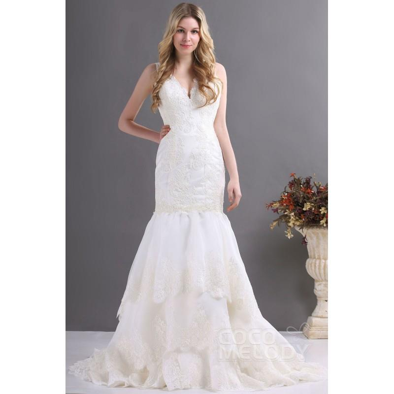 My Stuff, Impressive Trumpet-Mermaid V-Neck Court Train Lace Fit and Flare Wedding Dress CWZT13036 -