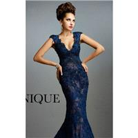 Navy Beaded Lace Gown by Janique - Color Your Classy Wardrobe