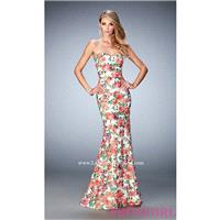 Print Long Strapless Sweetheart La Femme Prom Dress - Discount Evening Dresses |Shop Designers Prom