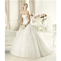 Exquisite A-line Strapless Appliques Lace Sweep/Brush Train Tulle Wedding Dresses - Dressesular.com