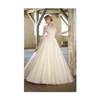 Charming A-line Bateau Beading&Crystal Detailing Lace Sweep/Brush Train Tulle Wedding Dresses - Dres