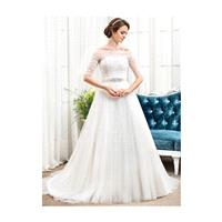 A-Line/Princess Off-the-Shoulder Chapel Train Tulle Wedding Dress With Ruffle Beading - Beautiful Sp