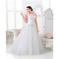 Simple A-line Halter Beading Lace Ruching Sweep/Brush Train Organza Wedding Dresses - Dressesular.co